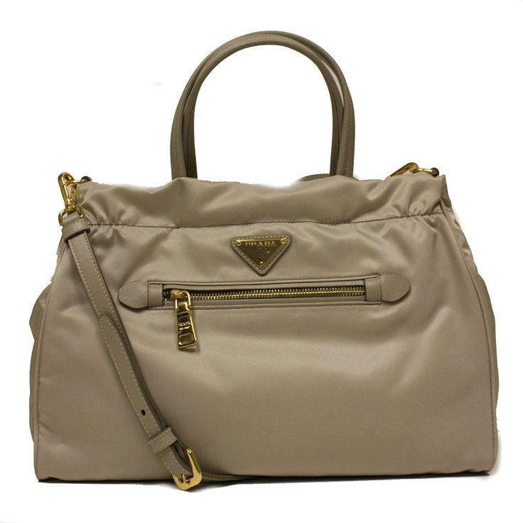 Prada B1843M Pomice Gray Tessuto Saffian Nylon and Leather Shopping Tote Bag
