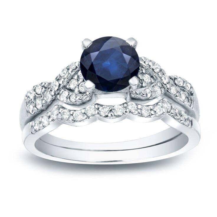 Auriya 14k Gold 3/5ct Blue Sapphire and 2/5ct TDW Round Diamond Bridal Ring Set (H-I, SI1-SI2) (Yellow Gold - Size 6), Women's