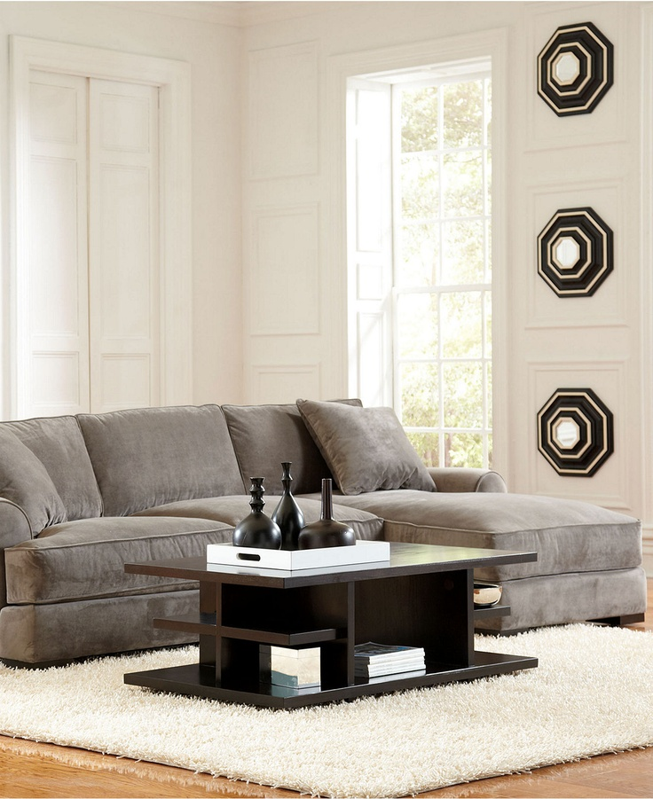 My dream couch!! Chaise sofa from Macy's. Best sofa ever. We have this same couch, but in a larger version. Perfect for children, as it is microfiber.