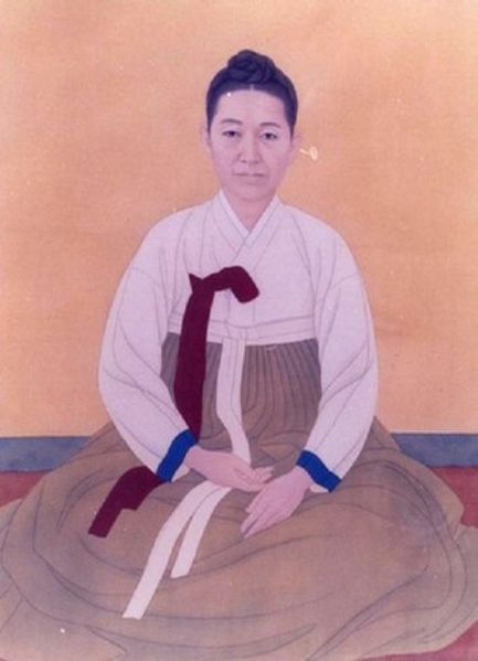 Shin Saimdang(신사임당, 申師任堂, 1504-1552) was  a Korean artist, writer, calligraphist, noted poet, and the mother of the Korean Confusian scholar Yulgok.(Source: Wikipedia)  She is well known as the drawer of Eggplant(aubergine) screen and is famous for the woman to appear on the 50,000 won note.