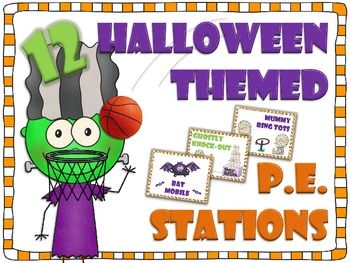 Halloween themed P.E. Stations for the elementary physical education classroom. Station signs plus directions & materials list.