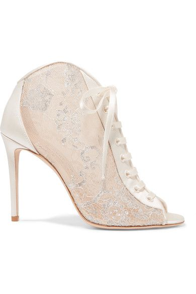 Heel measures approximately 100mm/ 4 inches Cream and silver tulle, cream satin Ties at ankle Made in Italy