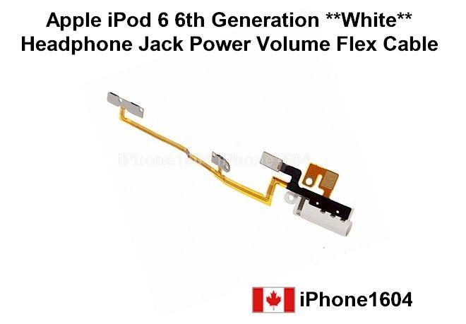 Apple ipod 6 6th generation white headphone jack power volume flex cable Price= $14.25