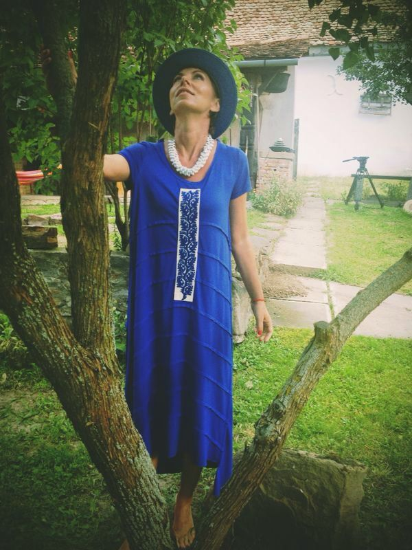 Electric blue, jersey dress, handmade embroidery, sustainable design, contemporary design, traditional design.