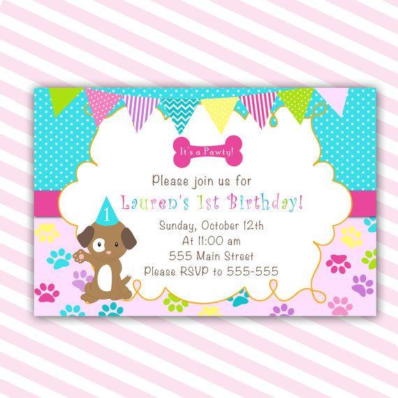 Puppy Birthday Invitation Card Girl