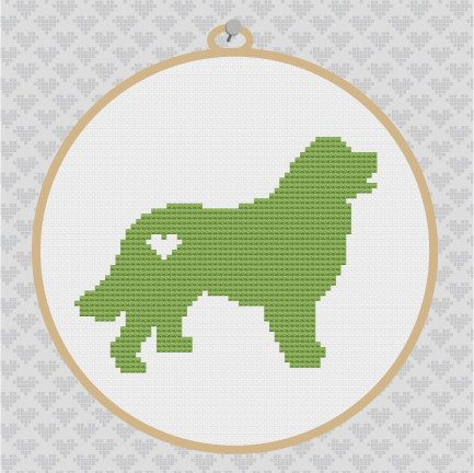 40% OFF EVERYTHING - Bernese Mountain Silhouette Cross Stitch Pattern