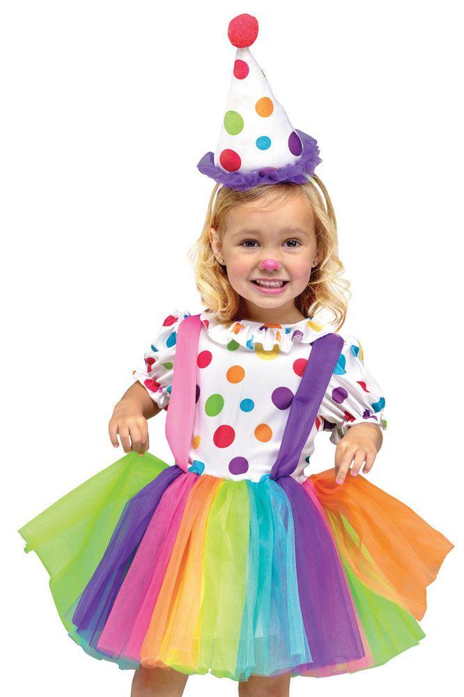 Kids Toddler Girls Rainbow Circus Clown Halloween Fancy Dress Costume Dress