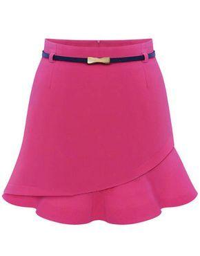Pink Asymmetrical Ruffle Bodycon Skirt - Sheinside.com