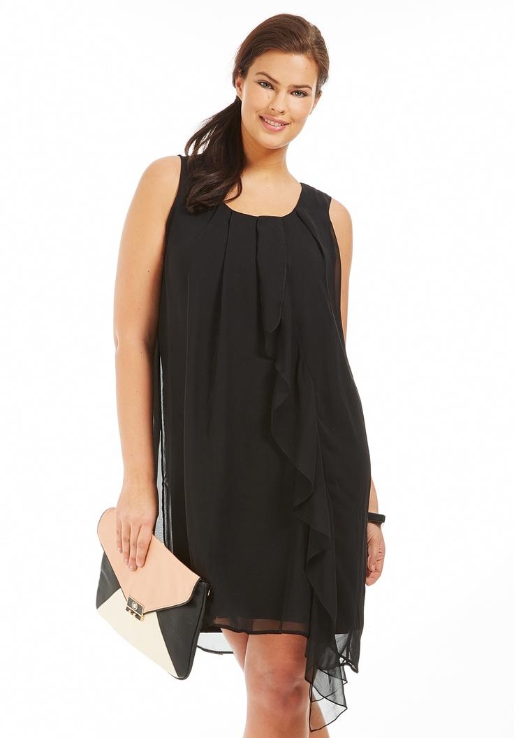 robe grande taille col rond d bardeur noir robe grande. Black Bedroom Furniture Sets. Home Design Ideas