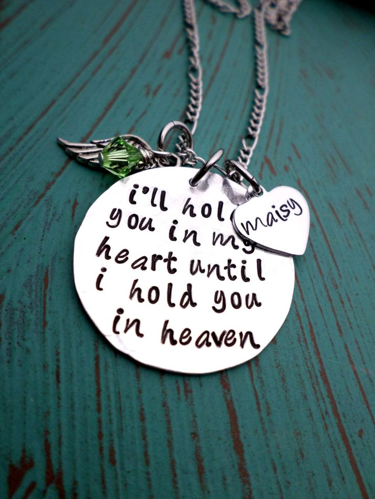 Hold You In My Heart, Memorial Necklace, Infant Loss, Child Loss, Miscarriage, Still Birth, Lost Loves, Mother's Necklace, SIDS Awareness by HandmadeLoveStories on Etsy