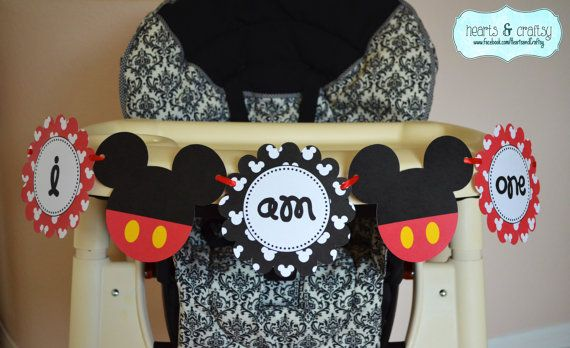 """Mickey Mouse Party Printable Highchair Banner by HeartsandCraftsy """"I AM ONE"""""""