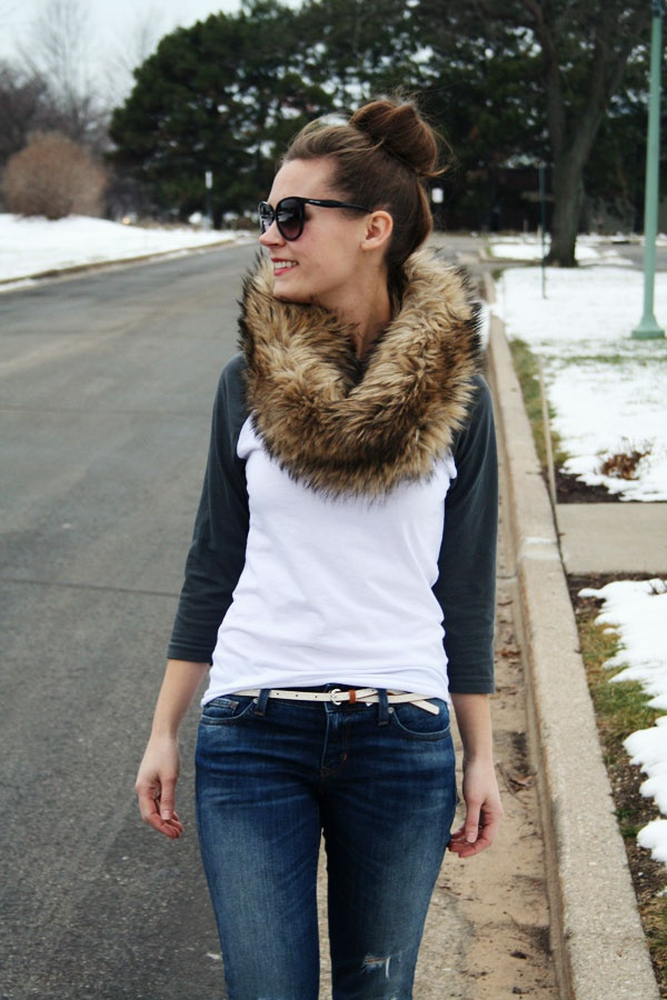 casual made a lil fancy with faux fur scarf