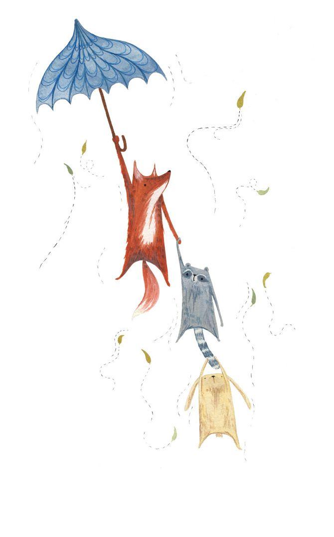 Windy Day - Ellie Jenkins Illustration #fox #raccoon #rabbit #umbrella #autumn