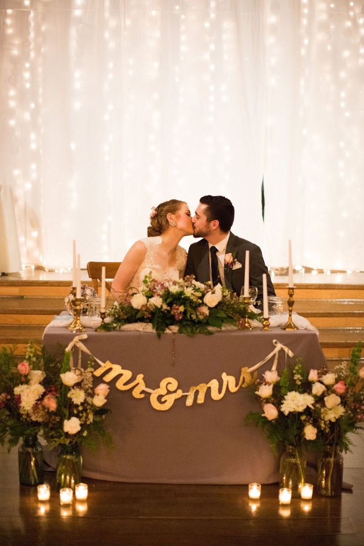 Best 25 bride groom table ideas on pinterest sweet heart table stunning and elegant january winter barn wedding close to salem oregon mr mrs sweetheart table with twinkle light backdrop and bride and groom kiss junglespirit Gallery