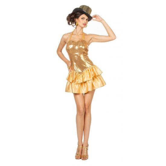 Goud jurkje met pailletten voor dames  Gouden halter jurk met pailletten voor dames. Een sexy halter jurkje met satijnen rok en pailletten op het lijfje. Leuk om u te verkleden als een showgirl. Accessoires zoals een hoed handschoenen en pumps zijn los verkrijgbaar in onze webshop.  EUR 36.95  Meer informatie