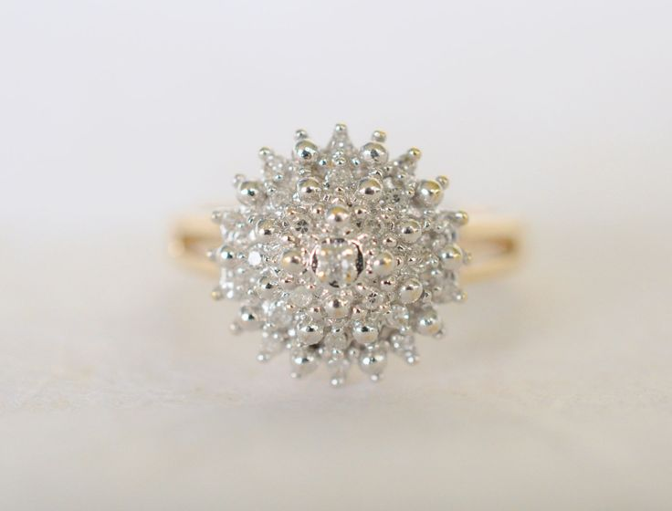 RESERVED //// 1970s vintage / 9k diamond cluster ring ...