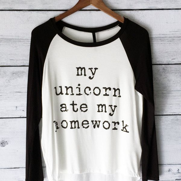 My Unicorn Ate My Homework Long Sleeve Raglan Shirt for Women in... ($21) ❤ liked on Polyvore featuring tops, t-shirts, shirts, silver, women's clothing, long sleeve shirts, graphic design t shirts, baseball tee, graphic long sleeve shirts and black shirt
