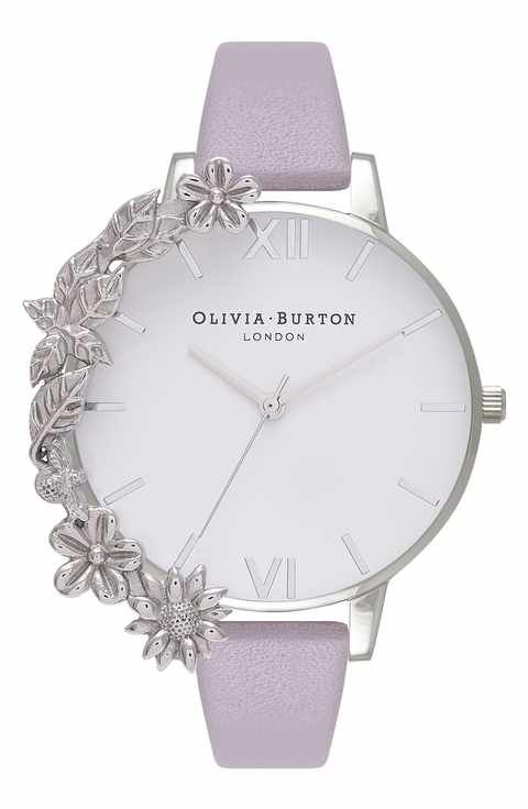 Olivia Burton Leather Strap Watch, 38mm