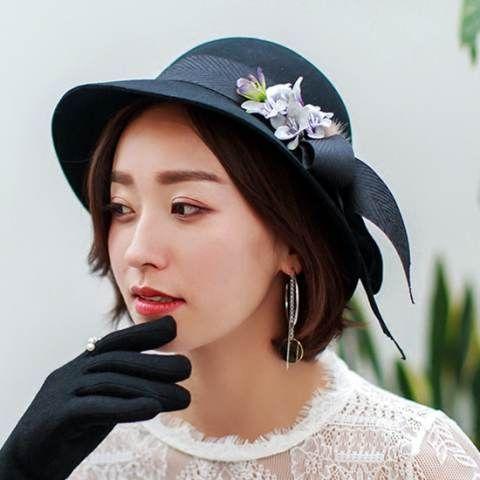 Plain black fedora hat with flower fashion ladies autumn winter wool hat