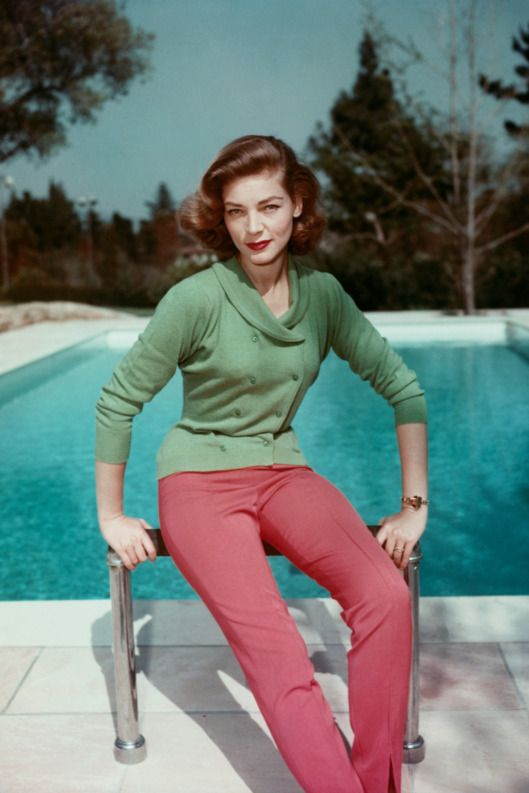 mid 1950s --- Lauren Bacall by Swimming Pool --- Image by ? CinemaPhoto/CORBIS