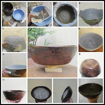 Clik: Vaso Sustentável! Como fazer um Vaso de Jornal e cimento!