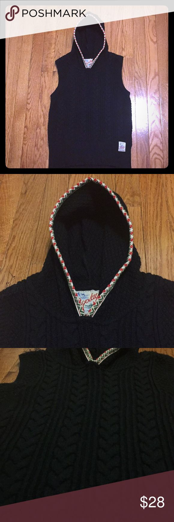 Cute Replay braid knit vest candy cane rim hood 🍭 Replay Black braided knit vest with candy cane rim hood - so cute and warm - quality workmanship and form fitting shape - sz S, fits sz 4-6 best - only worn twice, very minor fuzz, not noticeable at all when worn. Offers welcome. Extra discount for bundles ;) Replay Sweaters