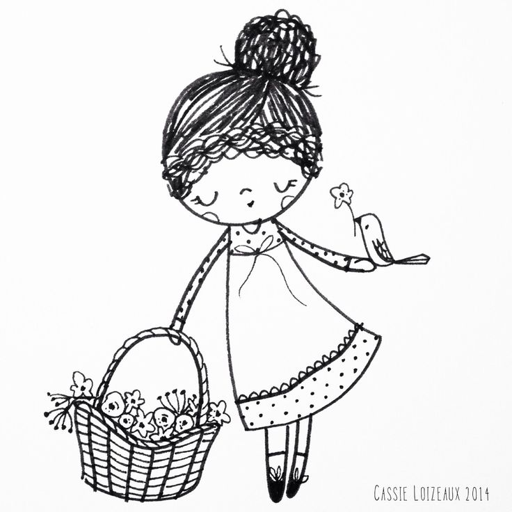 Flower Picking. Day 97 of yearlong sketchbook project. Cassie Loizeaux