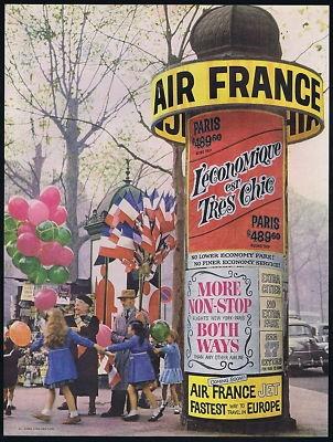 1959 Air France Airlines Europe Circular Billboard Vintage Print Ad