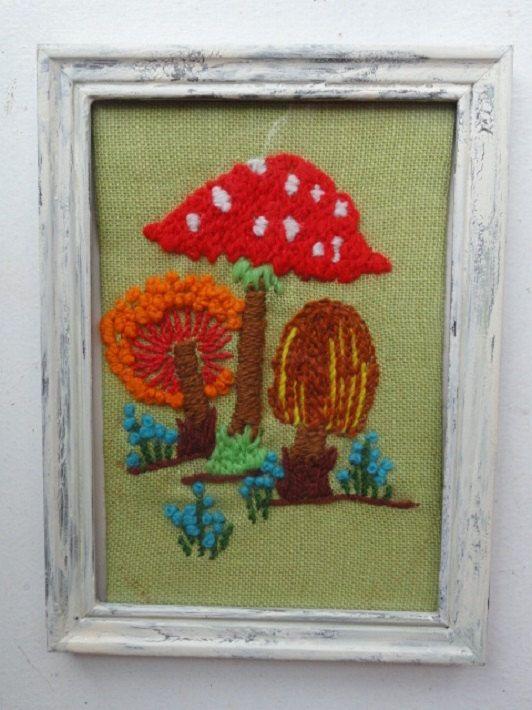 Crewel work Mushrooms hand made mushroom art by raspberryrobin, $14.95