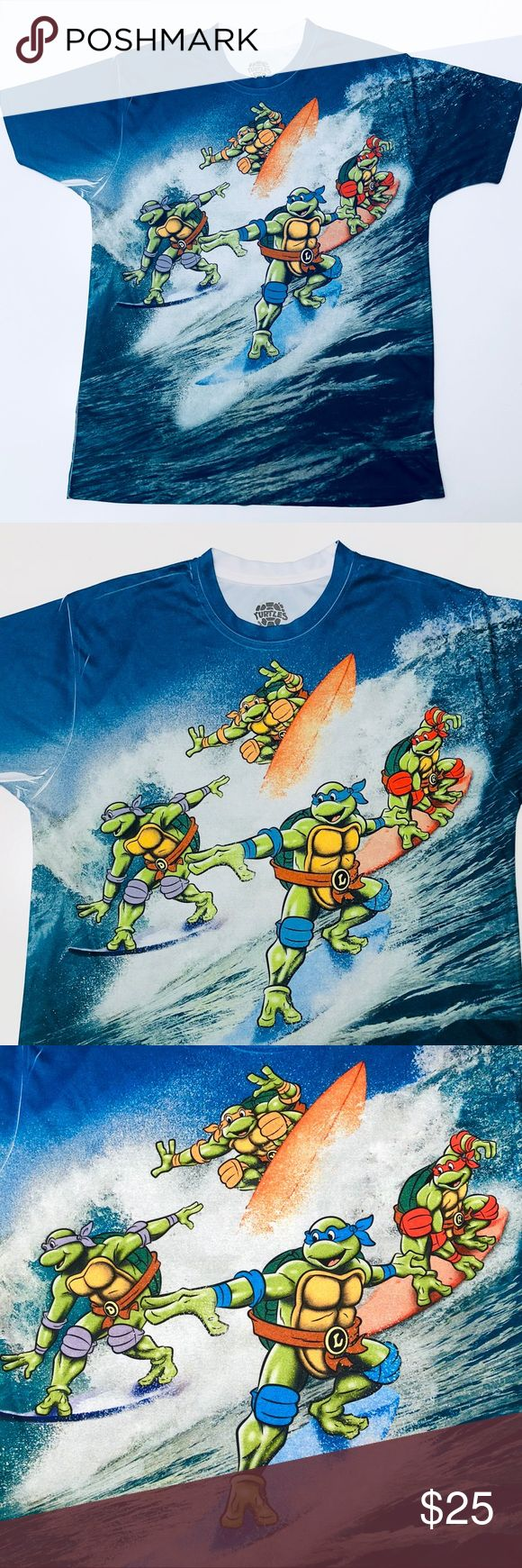 Ninja Turtles Graphic Tee Shredder Surfing Shirt L Teenage Mutant Ninja Turtles 2-Sided Graphic Tee. Shredder Surfing on the back! Beautiful Print Shirt front AND back! Nickelodeon Shirts Tees - Short Sleeve