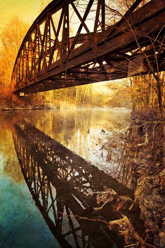 Abandoned bridge over river Wupper/Germany