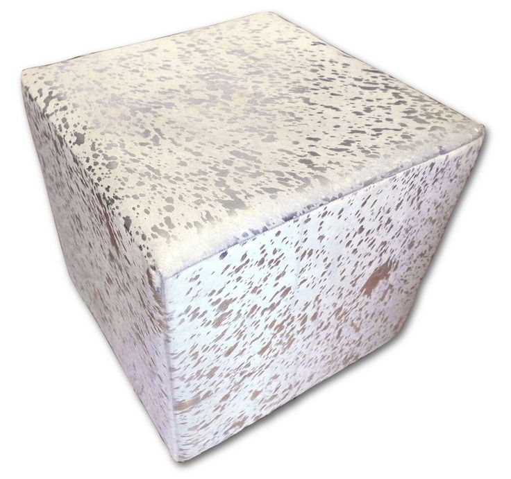 Cowhide Cube Cowhide Ottoman Footstool White with silver Cowhide Furniture Cube  #cowhidesusa #Contemporary