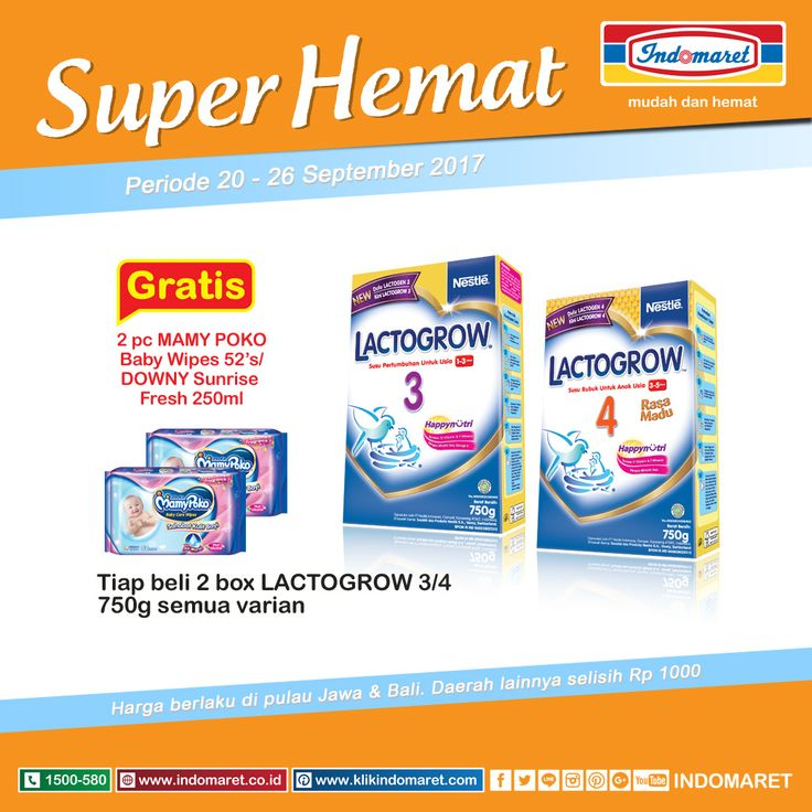 Promo #SuperHemat Tiap beli 2 box Lactogrow 3/4 750g semua variant Gratis 2 pc Mamy poko Baby Wipes 52's/Downy Sunrise Fresh 250ml  Periode : 20 - 26 September 2017 Info lebih lengkap klik : https://goo.gl/fLnJ4w