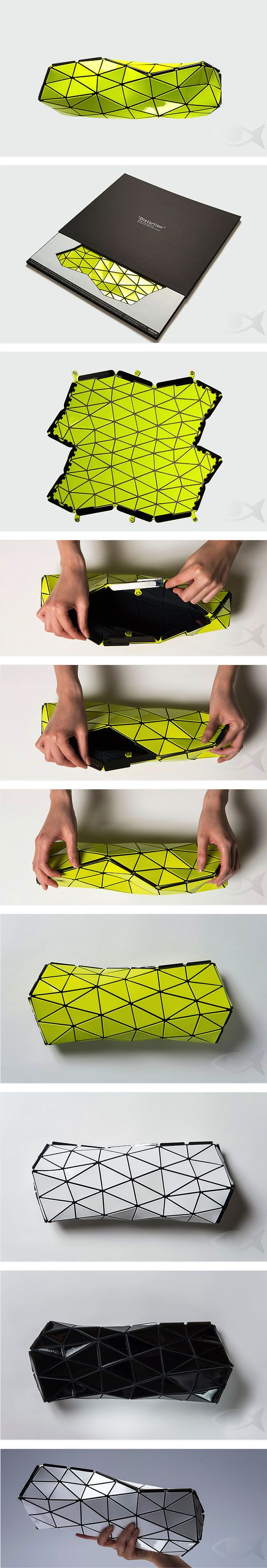The Distortion Bag by Bao Bao Issey Miyake employs complex geometries to get a collapsible origami clutch.