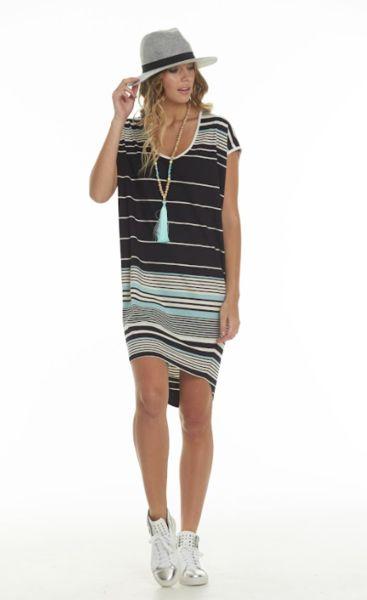 Charlo Brooke Dress Navy & Pale blue/ cream stretch knit fabric in a stripe.
