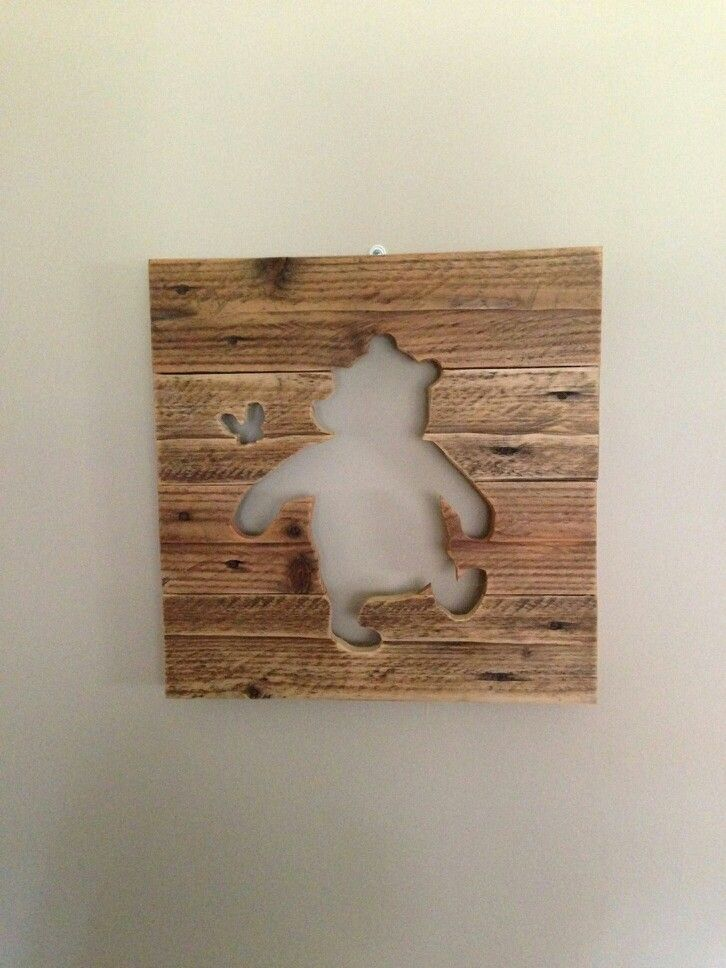 Winnie the Pooh silhouette made from pallet wood for Lauren & Kevin