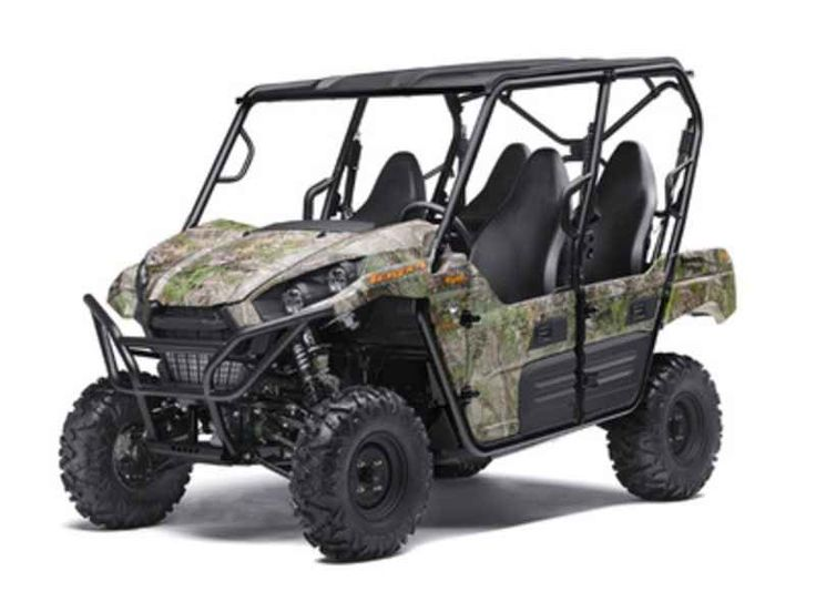 New 2017 Kawasaki Teryx4 Camo ATVs For Sale in Texas. 2017 Kawasaki Teryx4 Camo, 2017 Kawasaki TERYX4 Camo THE KAWASAKI DIFFERENCE UP FOR ANY CHALLENGE, THE KAWASAKI TERYX4 CAMO SIDE X SIDE TAKES ON THE WILDERNESS FULL-THROTTLE WITH ITS POWERFUL, 800-CLASS V-TWIN ENGINE AND PREMIUM FOX PODIUM PIGGYBACK SHOCKS. 783cc V-twin engine with strong mid-range power delivery Continuously Variable Transmission (CVT) 49:51 weight distribution for sporty and confident handling Durable and light weight…