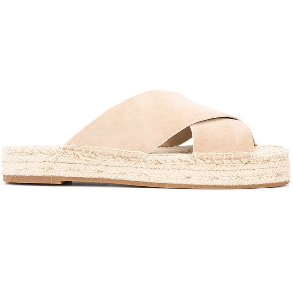 Michael Kors espadrille slides ($295) ❤ liked on Polyvore featuring shoes, sandals, beige, espadrilles shoes, beige shoes, leather shoes, beige espadrilles and leather espadrille sandals