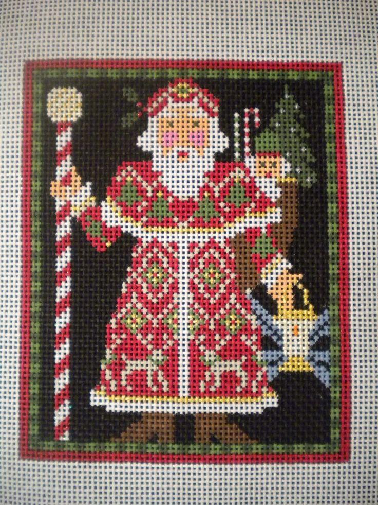 HP Needlepoint Canvas Stunning Icelandic Santa by Kelly Clark   eBay