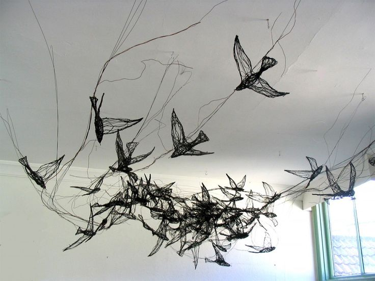 Bird Sculptures Constructed from Wire by Celia Smith Look like Detailed Sketches wire sculpture birds
