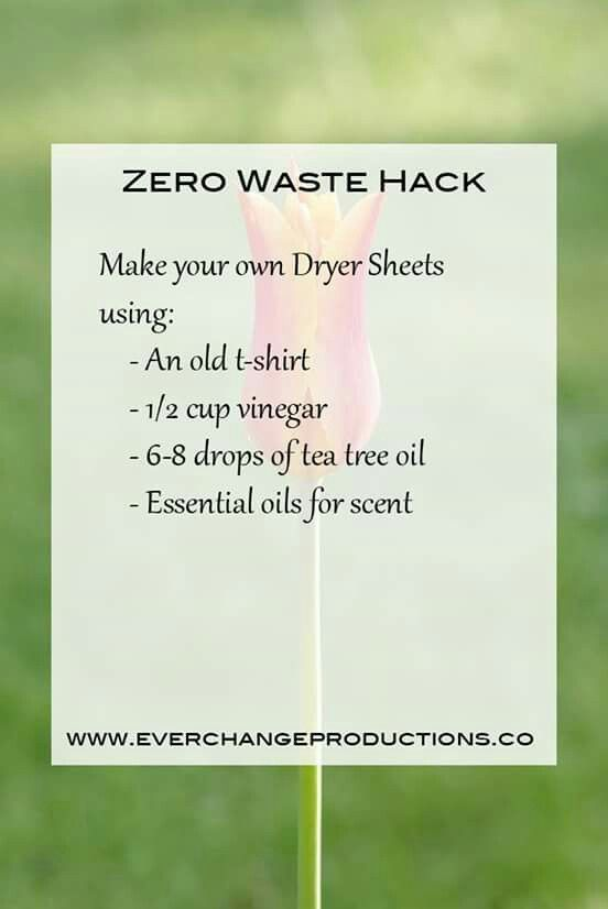 Zero Waste Hack! Make your own dryer sheets using an old t-shirt, 1/2 cup of vinegar, 6-8 drops of tea tree oil and your favorite essential oils!