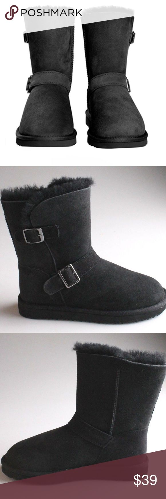 Kirkland Signature™ Ladies' Shearling Buckle Boot BLACK Twinface Australian sheepskin upper Shearling sock lining provides supreme cushioning & warmth Adjustable buckle on upper & shaft Lightweight EVA outsole for solid traction Nylon binding EVA outsole Care Instructions:  Wipe with a damp cloth Do not dry clean Kirkland Signature Shoes Winter & Rain Boots