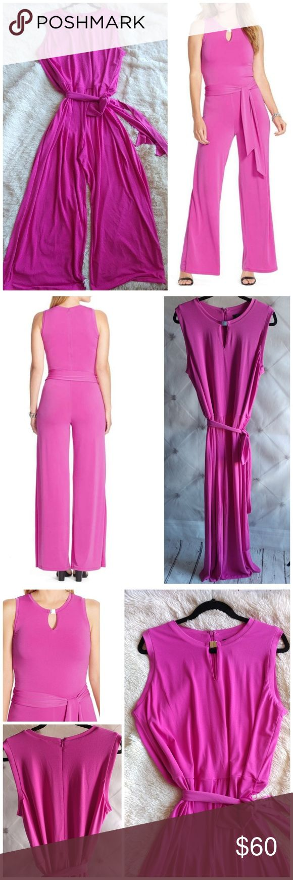 """Lauren Ralph Lauren Keyhole Matte Jersey Jumpsuit Vibrant pink hue jumpsuit. Cut to slim figure before flattering into fluid wide cutlets.  A buckled keyhole accents the neck while a slash clinched the waist for flattering definition. Back zip closure. Crew neck Sleeveless Lined bodice Dry clean. 95% polyester 5% elastane Lenght: 56"""" Inseam: 33"""" Bust: 42"""" Waist: 46"""" Leg opening: 28 1/2"""" Lauren Ralph Lauren Pants Jumpsuits & Rompers"""