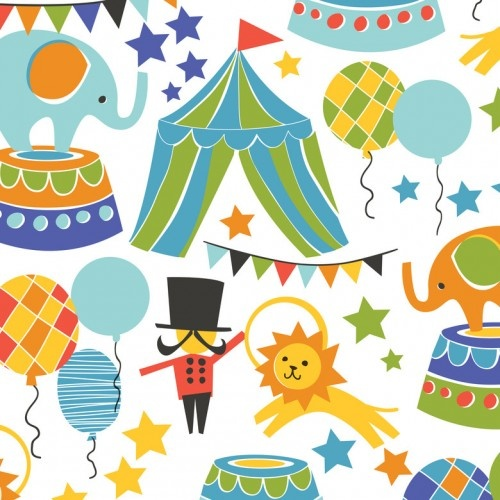 Blend Fabrics Bailey Circus Collection - Big Top Ring Master Blue on White