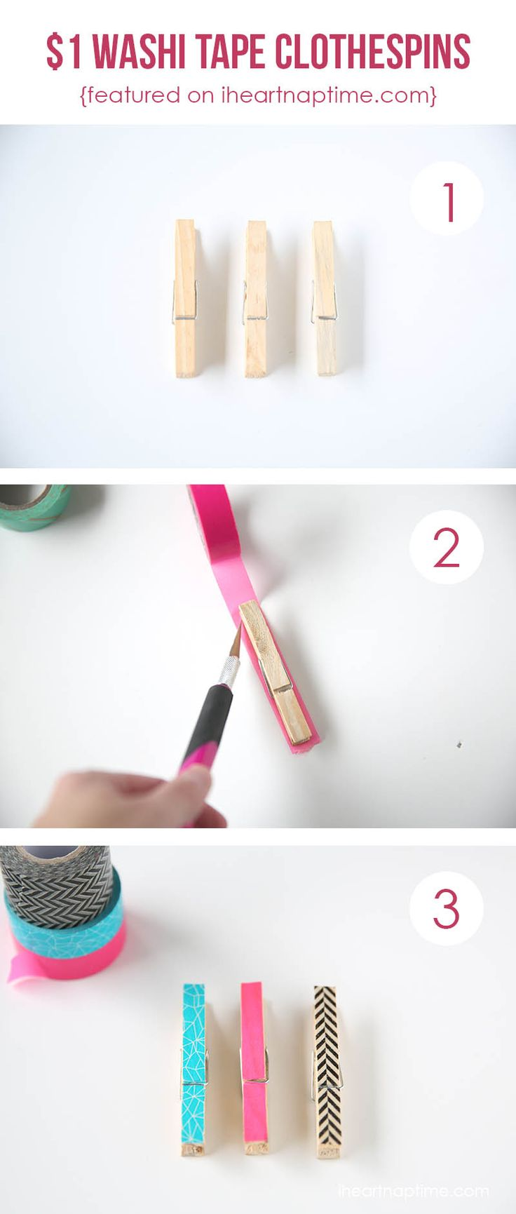 DIY Washi tape clothespins so simple and inexpensive to make!