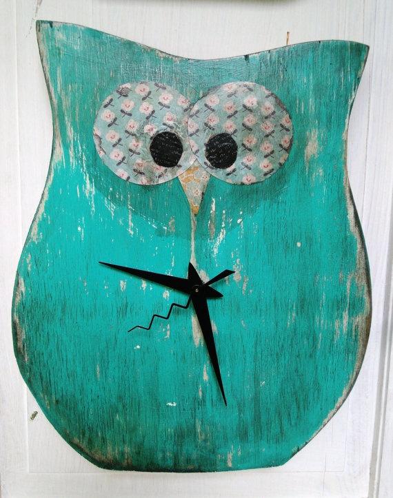 Owl Clock by buttonbirddesigns on Etsy, $34.00: Girl, Owl Clocks To, Crafty Things, Button Bird, Clock Designs, Basement Ideas, Craft Ideas, Crafty Ideas