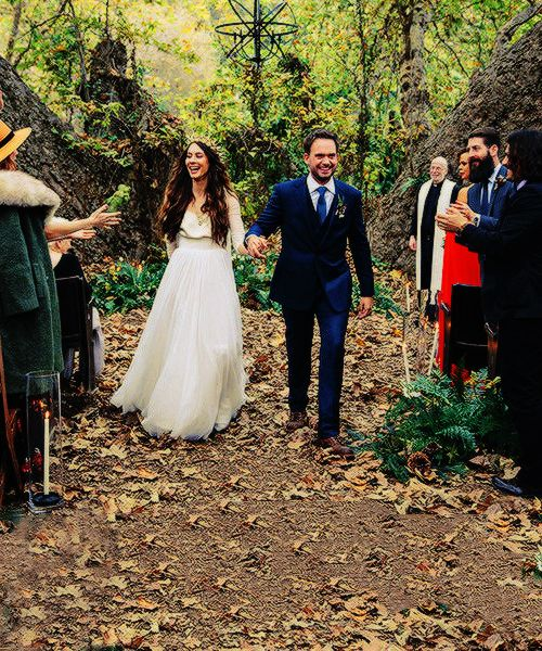 Troian Bellisario & Patrick J. Adams tied the knot in a bohemian and romantic outdoor ceremony in Southern California on December 10, 2016