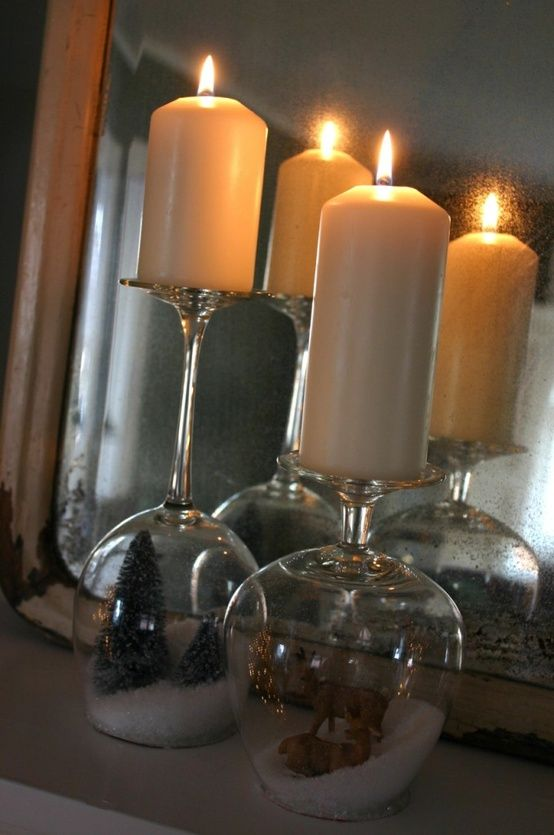 Upside wine classes with candles