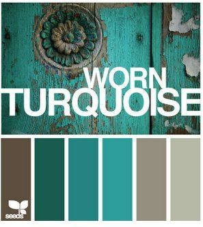 Turquoise/Green color inspiration for family room makeover