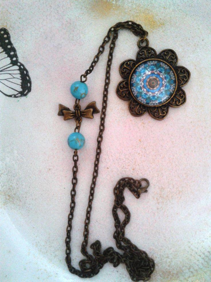 Kék mandala türkiz gyöngyös láncon (mandala, jewerly, vintage, fashion, DIY)